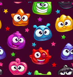 seamless pattern with cute cartoon jelly vector image