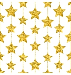 Seamless pattern with gold shine glitter stars on vector image