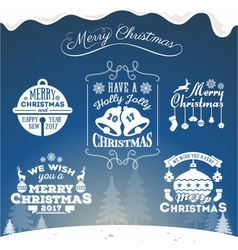set christmas decoration typography tag label vector image