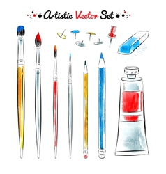 set of art tools vector image