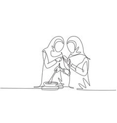 Single one line drawing two arabian friends cook vector