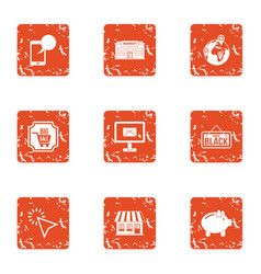 Small enterprise icons set grunge style vector