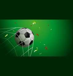 Soccer ball goal web banner of sport game event vector