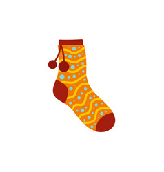Sock with pompon icon flat style vector
