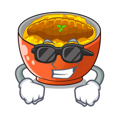 Super coolkatsudon sauce in the character bowl vector
