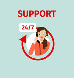 support service circle icon with woman vector image