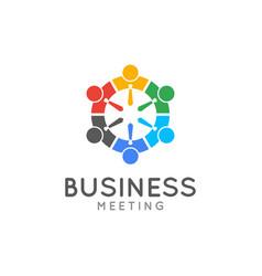 teamwork meeting logo business team union concept vector image