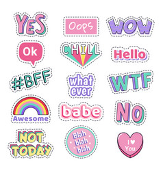 teenage speech patch stickers girls fashion funny vector image