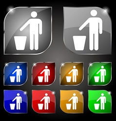 Throw away the trash icon sign Set of ten colorful vector