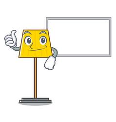 thumbs up with board floor lamp character cartoon vector image