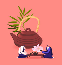 Tiny businessmen characters sitting at low table vector