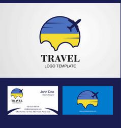 travel ukraine flag logo and visiting card design vector image