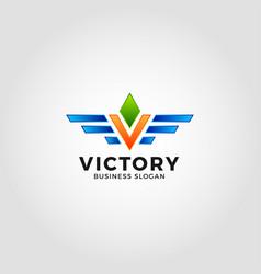 victory - letter v logo template vector image