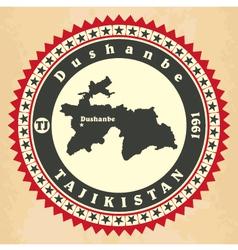 Vintage label-sticker cards of Tajikistan vector image