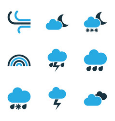 Weather colored icons set collection of rainfall vector