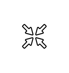 web line icon overlapping arrow black on white vector image