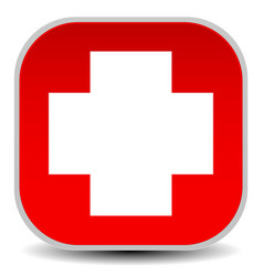 White cross over red - for first aid health vector