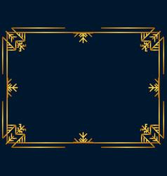 winter art deco frame golden color christmas vector image