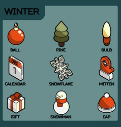 winter color outline isometric icons vector image