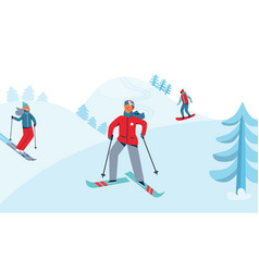 winter sports activity ski resort characters vector image