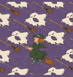 Witch brooms and ghosts seamless pattern vector