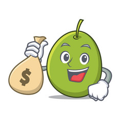 With money bag olive character cartoon style vector