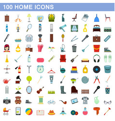 100 home icons set flat style vector image vector image