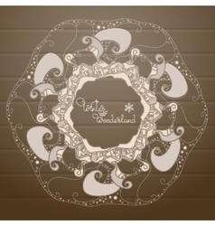 Christmas hand drawn mandala on a wooden vector image vector image