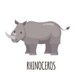 cute rhinoceros in flat style vector image vector image