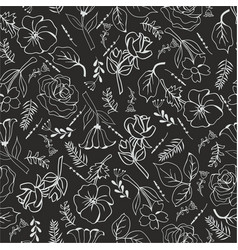 monochrome flowers on black background vector image