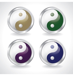 ying yang buttons vector image vector image