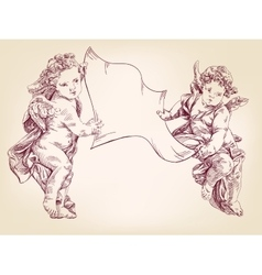 angels or cupid are holding a blank sheet of vector image