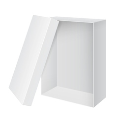 Cool Realistic White blank Package Box Opened with vector image