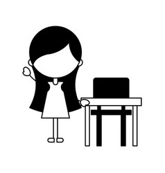 Cute girl with school chair character icon vector