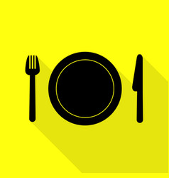 fork plate and knife black icon with flat style vector image