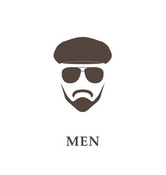 head of bearded man with tweed cap and sunglasses vector image vector image