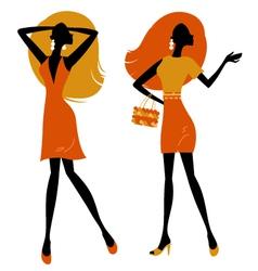 Retro girls silhouette vector image vector image