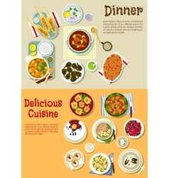 European dishes for weekend menu flat icon vector image vector image