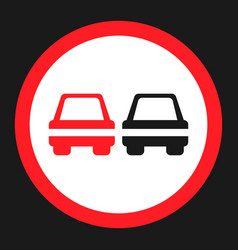 no overtaking prohibited sign flat icon vector image