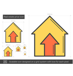 Real estate price line icon vector
