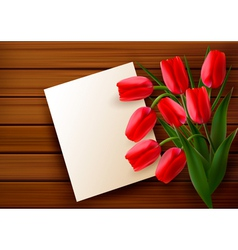 red tulip card vector image