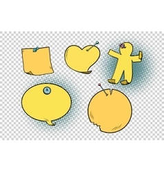 Set of yellow stickers in different shapes vector