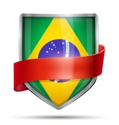 Shield with flag Brazil and ribbon vector image vector image