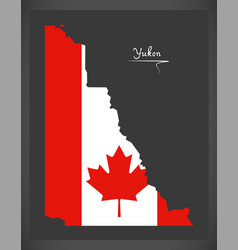 yukon canada map with canadian national flag vector image vector image