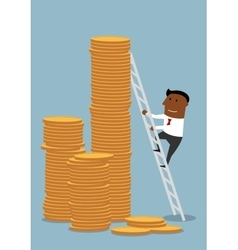 Businessman climbing up to stacks of golden coins vector image vector image