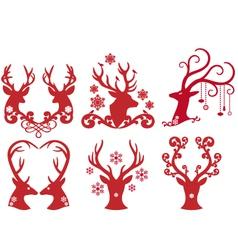 Christmas deer stag heads vector