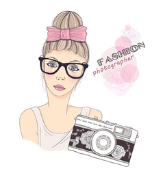 fashion girl photographer vector image vector image