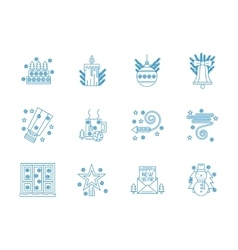 Flat blue line New Year icons set vector image