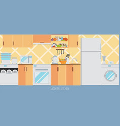 kitchen interior with furniture and cooking vector image
