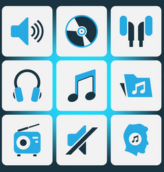 multimedia colored icons set collection of music vector image vector image
